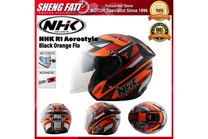 NHK R1 Aerostyle (Black Orange Flo) - Double Visor Open Face Motorcycle Helmet