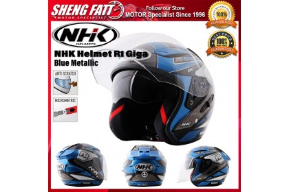 NHK Helmet R1 Giga (Blue Metallic) - Double Visor Open Face Motorcycle Helmet