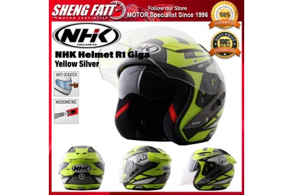 NHK Helmet R1 Giga (Yellow Silver) - Double Visor Open Face Motorcycle Helmet