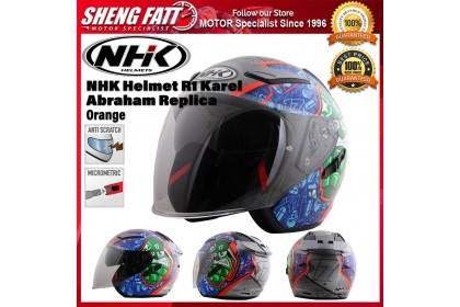 NHK Helmet R1 Karel Abraham Replica (Orange Flo) - Double Visor Open Face Motorcycle Helmet