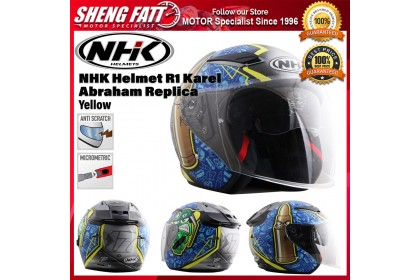 NHK Helmet R1 Karel Abraham Replica (Yellow) -  Double Visor Open Face Motorcycle Helmet