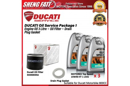 DUCATI Oil Service Package for 800 CC Above (Motorex Engine Oil 3 Litre + Oil Filter + Drain Plug Gasket)