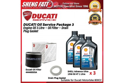 DUCATI Oil Service Package for 800 CC Above (SHELL Engine Oil 3 Litre + Oil Filter + Drain Plug Gasket)
