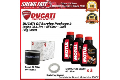 DUCATI Oil Service Package for 800 CC Above (MOTUL Engine Oil 3 Litre + Oil Filter + Drain Plug Gasket)