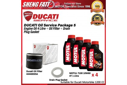 DUCATI Oil Service Package for 1200 CC Above (MOTUL Engine Oil 4 Litre + Oil Filter + Drain Plug Gasket)