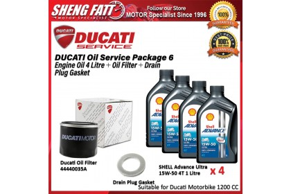 DUCATI Oil Service Package for 1200 CC Above (SHELL Engine Oil 4 Litre + Oil Filter + Drain Plug Gasket)
