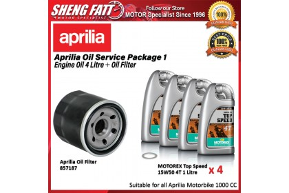 Aprilia Oil Service Package for 1000 CC Motorbike (Motorex Engine Oil 4 Litre + Oil Filter)