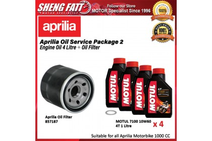 Aprilia Oil Service Package for 1000 CC Motorbike (Motul Engine Oil 4 Litre + Oil Filter)