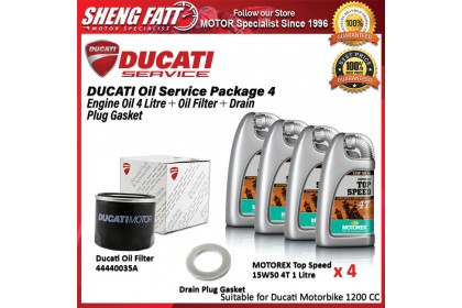 DUCATI Oil Service Package for 1200 CC Above (Engine Oil 4 Litre + Oil Filter + Drain Plug Gasket)