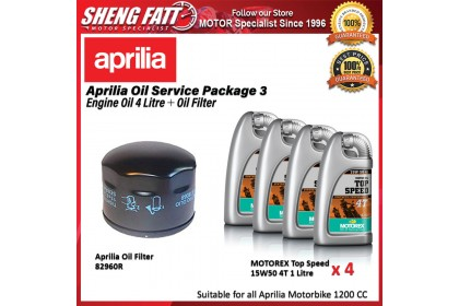 Aprilia Oil Service Package for 1000CC Motorbike (Engine Oil 4 Litre + Oil Filter)