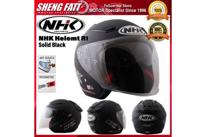 NHK Helmet R1 Solid Black - Double Visor Open Face Motorcycle Helmet
