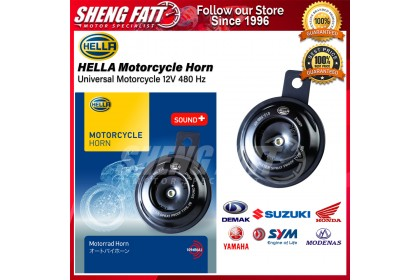 Hella Motorcycle Single Horn Series Black 12V Disc Horn Kit 012-588-HT (Universal Fit - Set/Box)