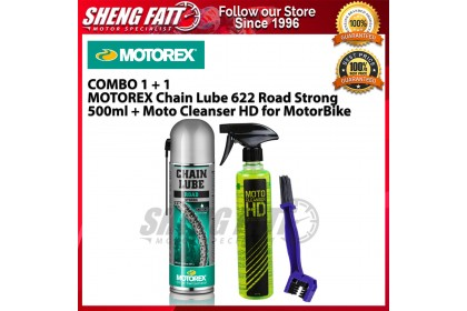 COMBO MOTOREX Chain Lube 622 Road Strong 500ml + Moto Cleanser HD for MotorBike - [ORIGINAL]