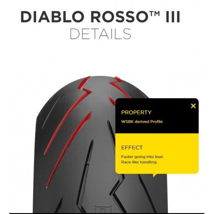 PIRELLI DIABLO ROSSO™ III FRONT AND REAR MOTORCYCLE TYRE (SPORT TIRE)