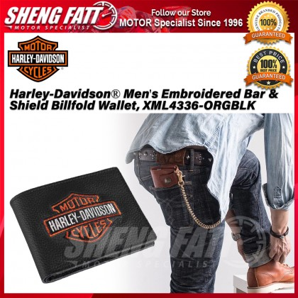 Harley-Davidson® Men's Embroidered Bar & Shield Billfold Wallet, XML4336-ORGBLK