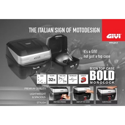 GIVI B32N BOLD TOP BOX FOR MOTORCYCLE 32-Liter Storage Capacity- ORIGINAL